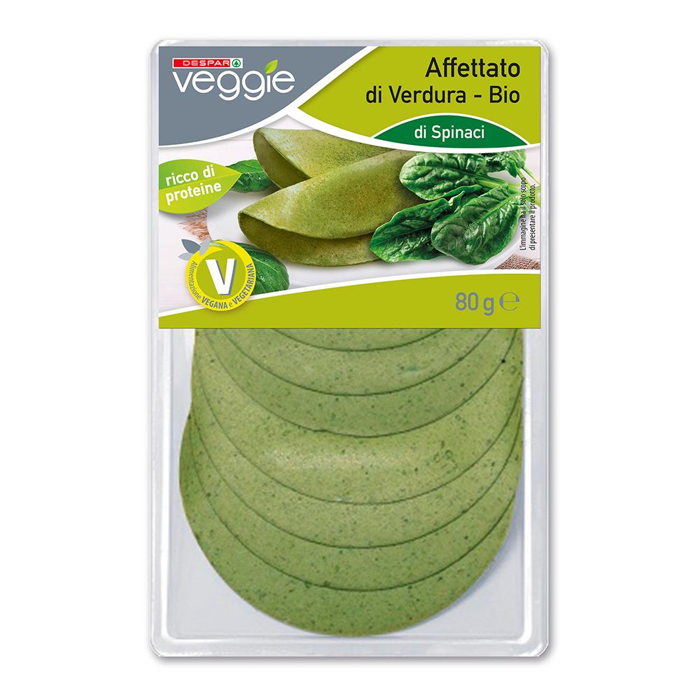Affettato di verdura bio spinaci linea prodotti a marchio Veggie Despar