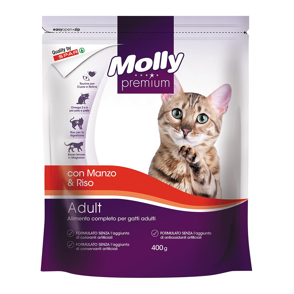 Alimento completo per gatto adulto crocchette con manzo e riso linea prodotti a marchio Despar Molly Premium