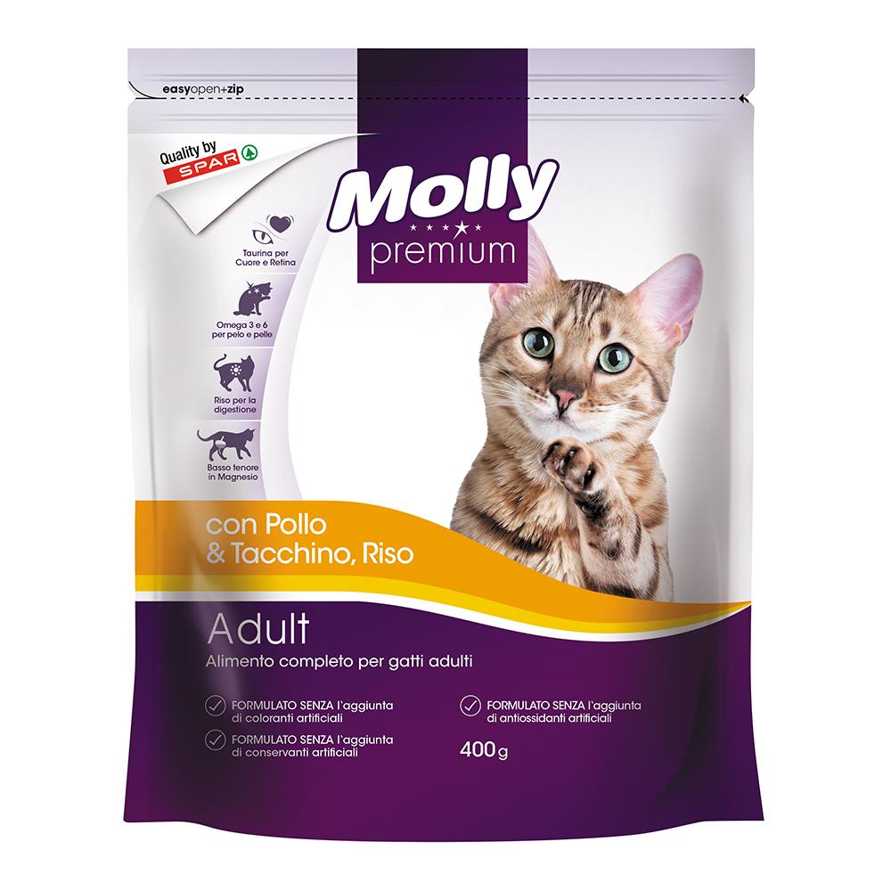 Alimento completo per gatti adulti crocchette con pollo, tacchino e riso linea prodotti a marchio Despar Molly Premium