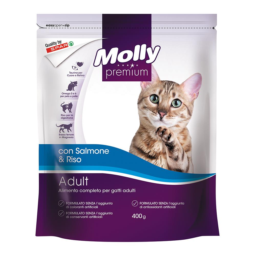 Alimento completo per gatti adulti crocchette con salmone e riso linea prodotti a marchio Despar Molly Premium