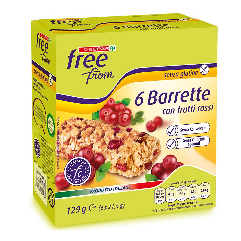 Barrette con frutti rossi linea prodotti a marchio Despar Free From