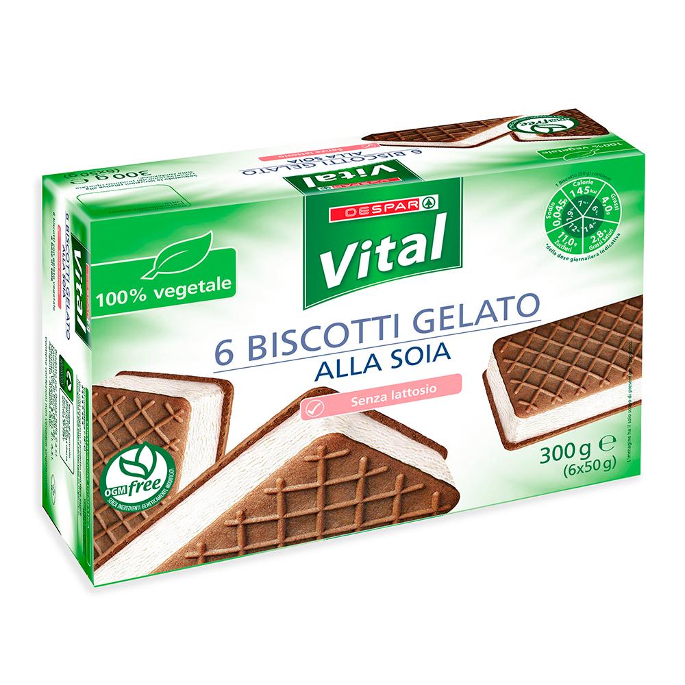Biscotti gelato alla soia senza lattosio linea prodotti a marchio Despar Vital