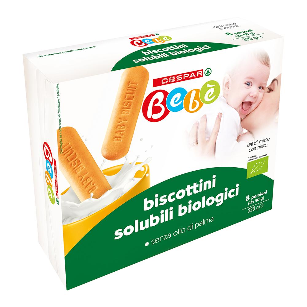 Biscottini solubili biologici linea prodotti a marchio Despar Bebè
