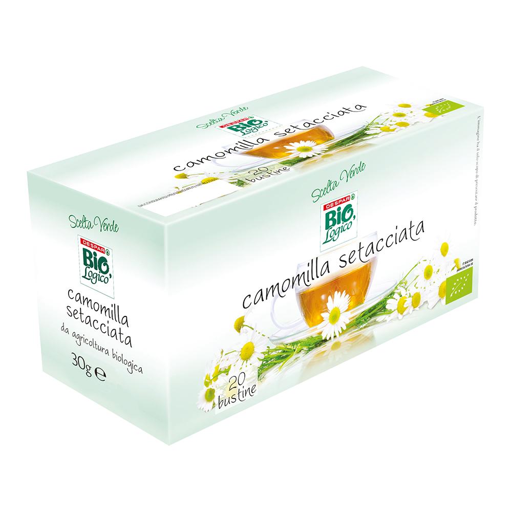 Camomilla setacciata 20 bustine linea prodotti a marchio Despar Bio,Logico