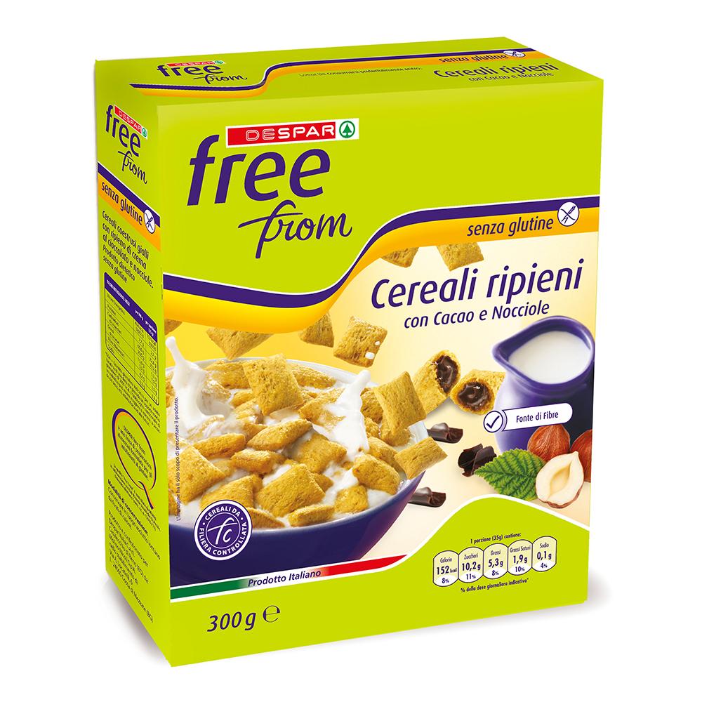 Cereali ripieni con cacao e nocciole linea prodotti a marchio Despar Free From