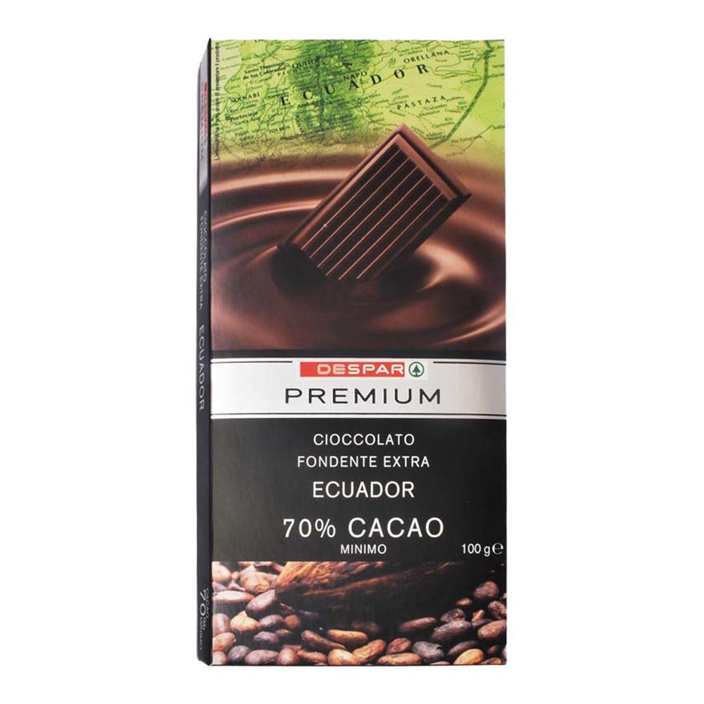 Cioccolato 70% Ecuador linea prodotti a marchio Despar Premium, Despar Italia