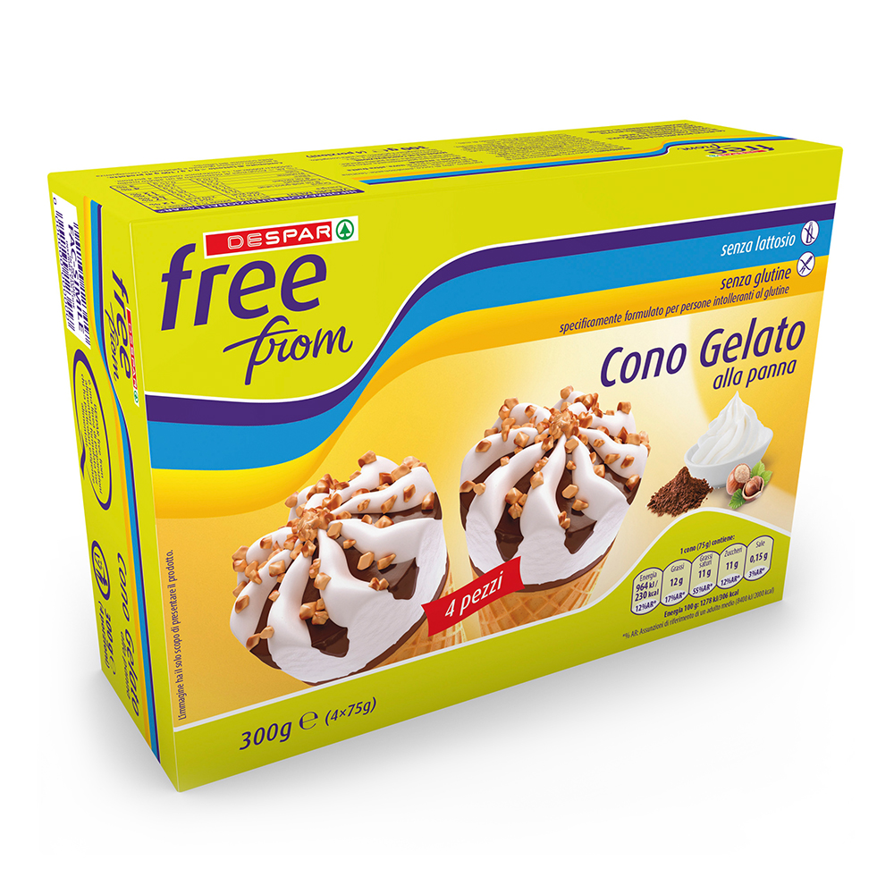 Cono gelato alla panna senza lattosio senza glutine linea prodotti a marchio Despar Free From