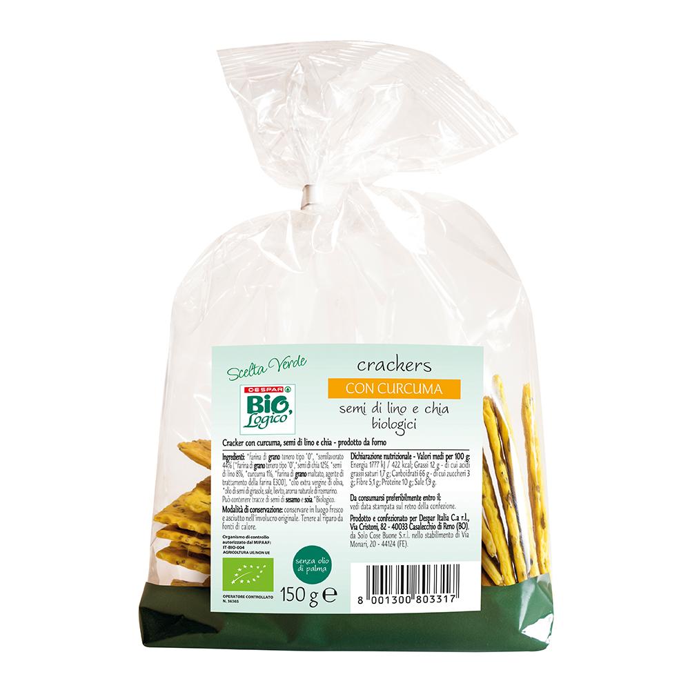 Crackers con curcuma, semi di lino e chia linea prodotti a marchio Despar Bio,Logico