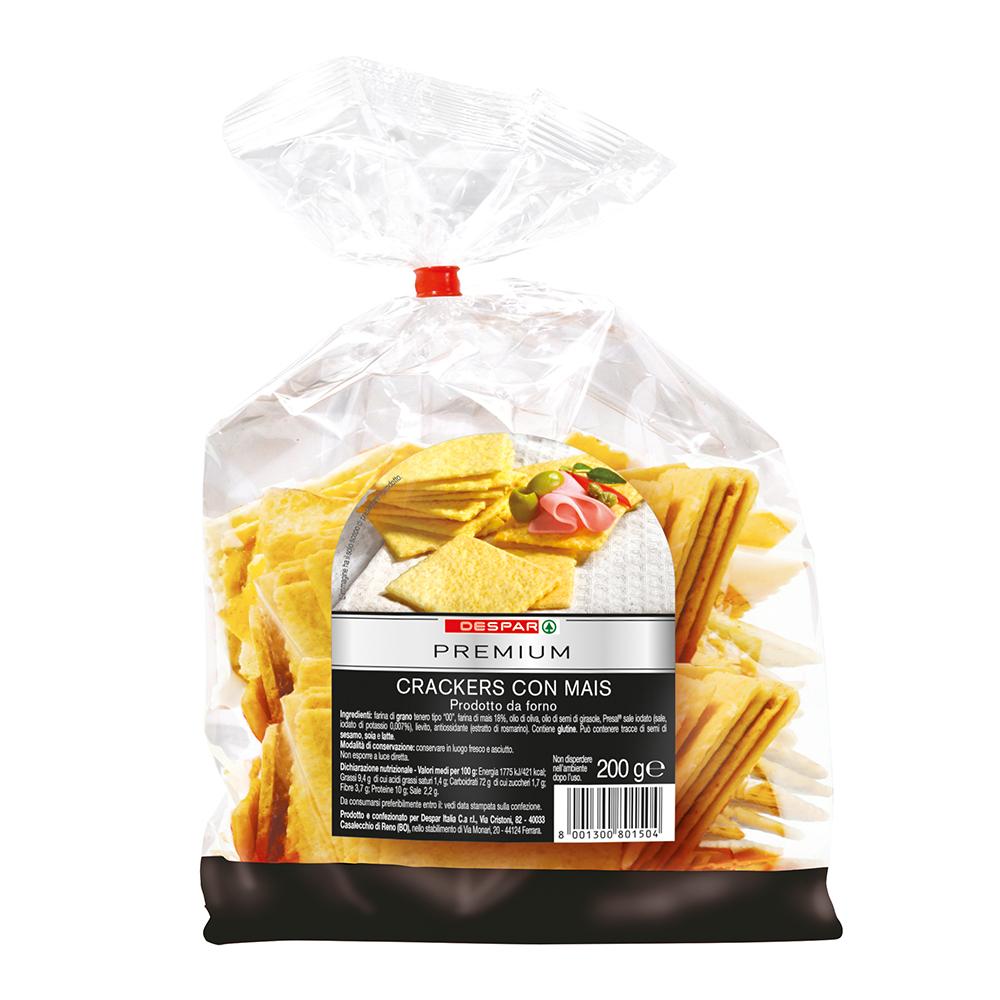 Crackers con mais linea prodotti a marchio Despar Premium, Despar Italia