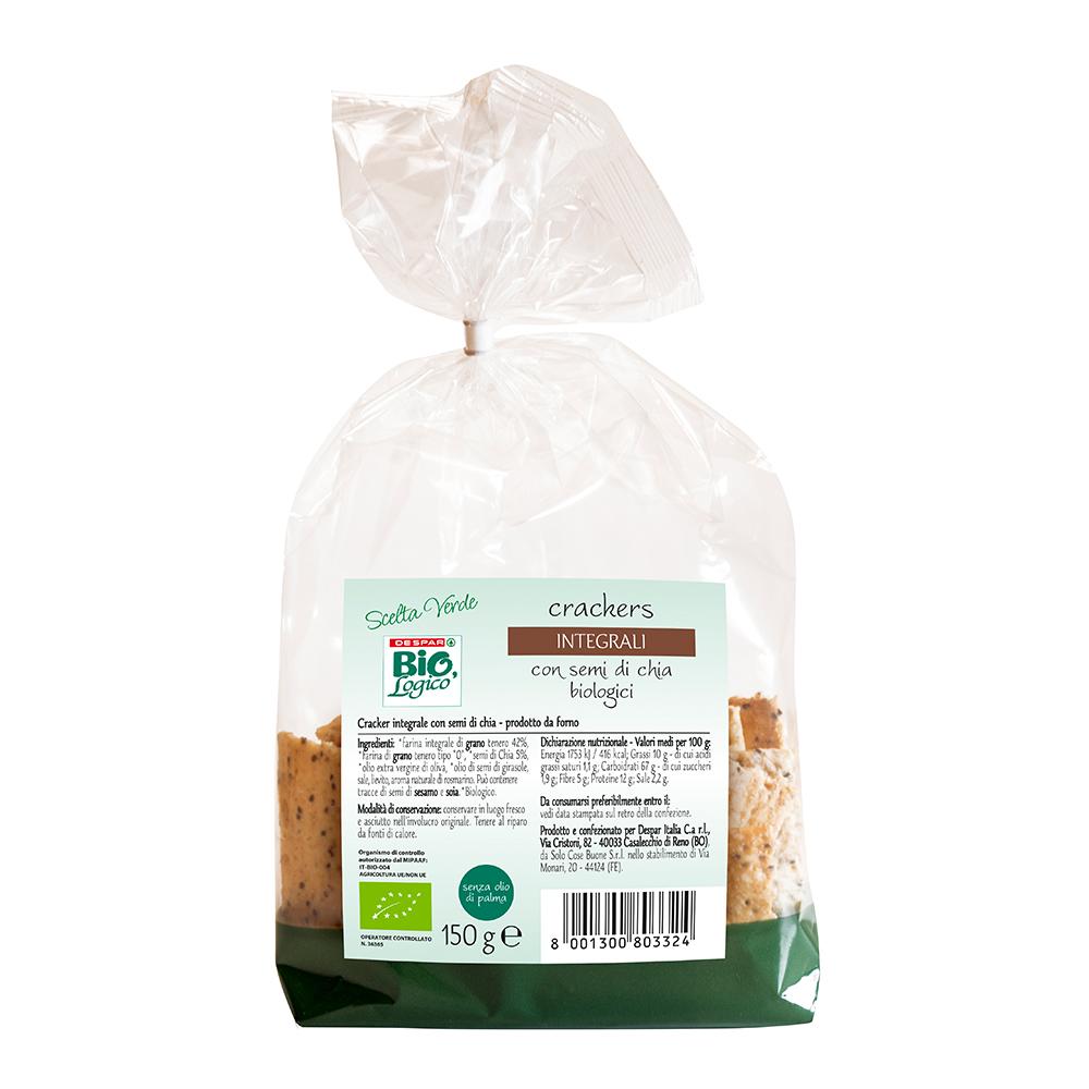 Crackers integrali con semi di chia biologici linea prodotti a marchio Despar Bio,Logico