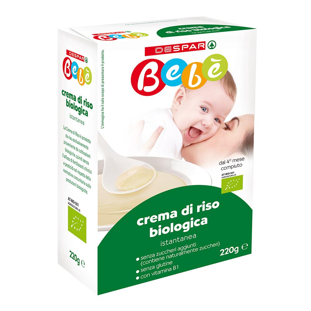 Crema di riso biologica istantanea linea prodotti a marchio Despar Bebè