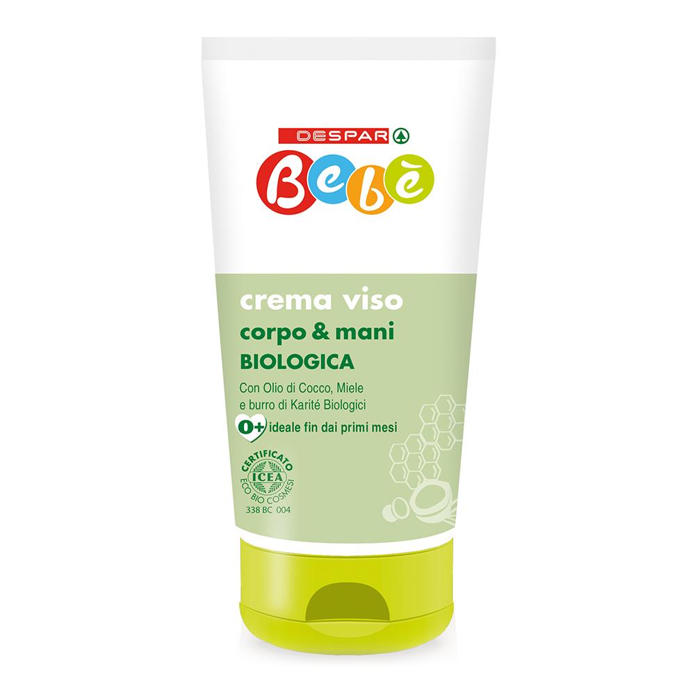 Crema viso corpo e mani linea prodotti a marchio Despar Bebè