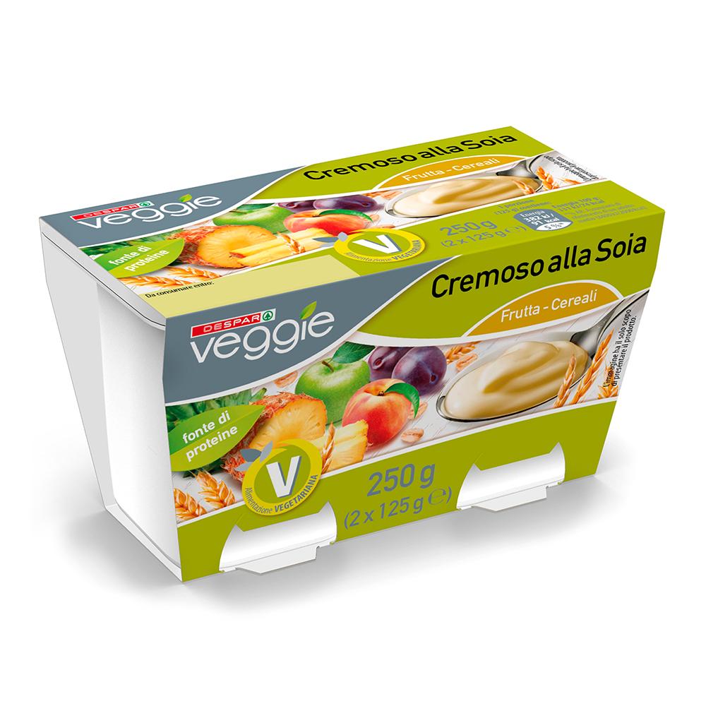 Cremoso alla soia frutta e cereali linea prodotti a marchio Despar Veggie