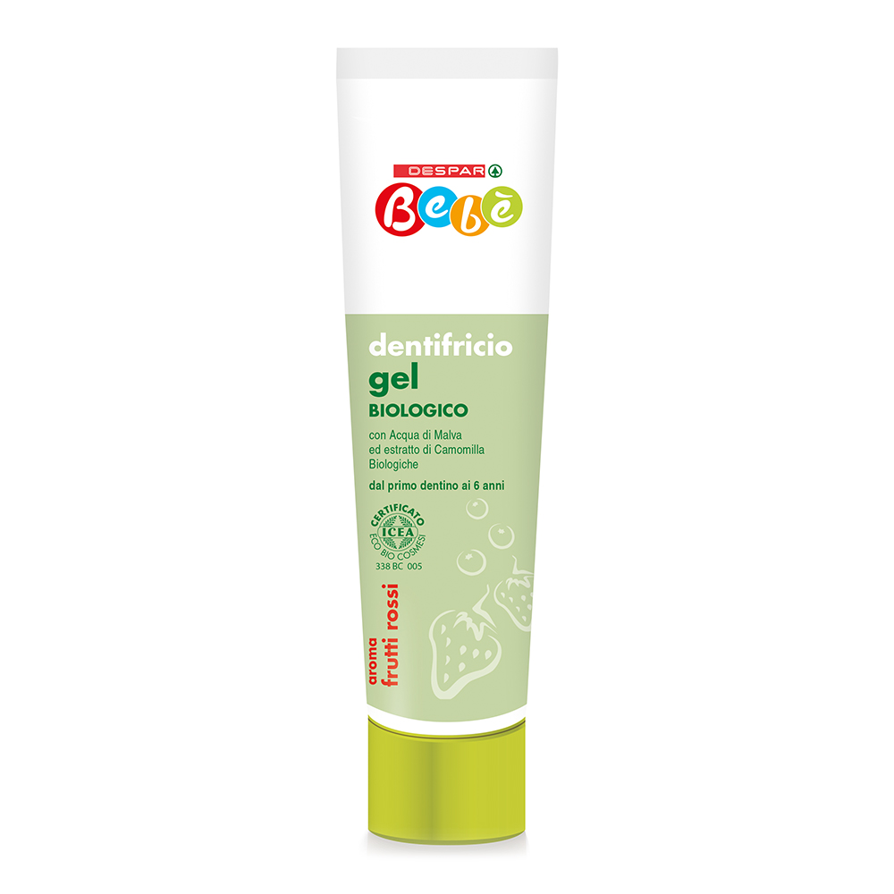 Dentifricio gel biologico linea prodotti a marchio Despar Bebè