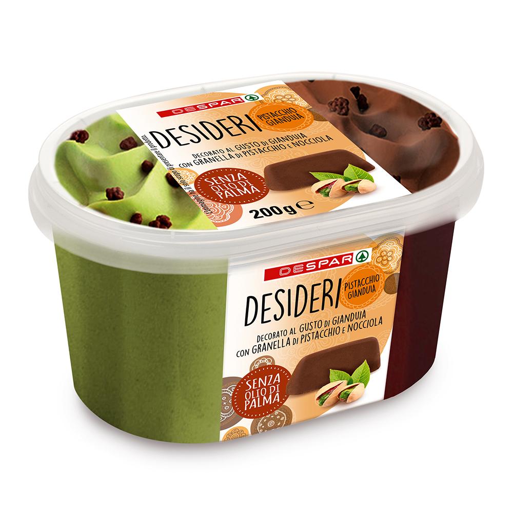 Gelato gianduia e pistacchio linea prodotti a marchio Despar, Despar Italia