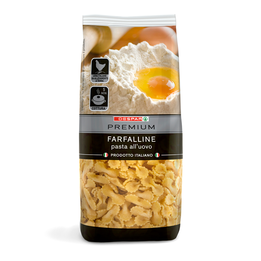 Pasta all'uovo farfalline linea prodotti a marchio Despar Premium, Despar Italia