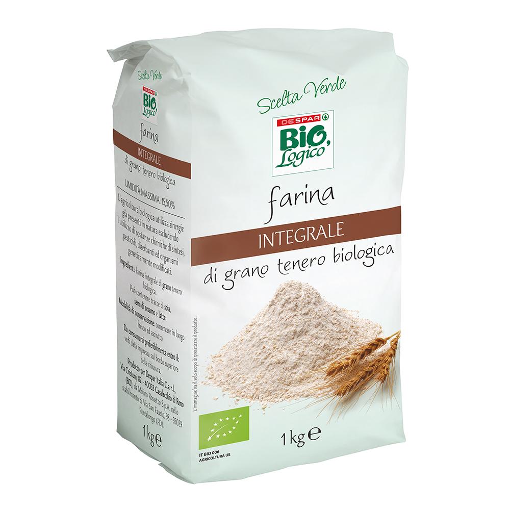 Farina integrale di grano tenero biologica linea prodotti a marchio Despar Bio,Logico
