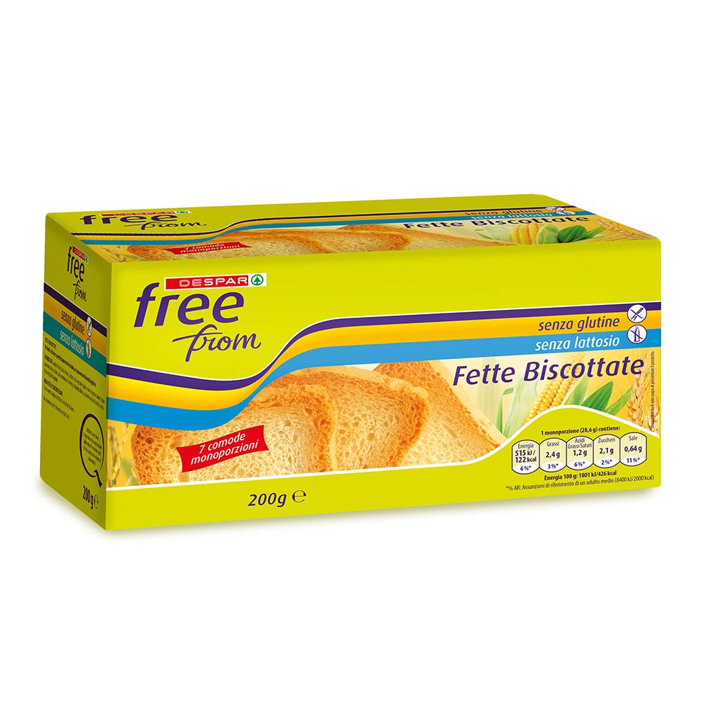Fette biscottate senza glutine senza lattosio linea prodotti a marchio Despar Free From