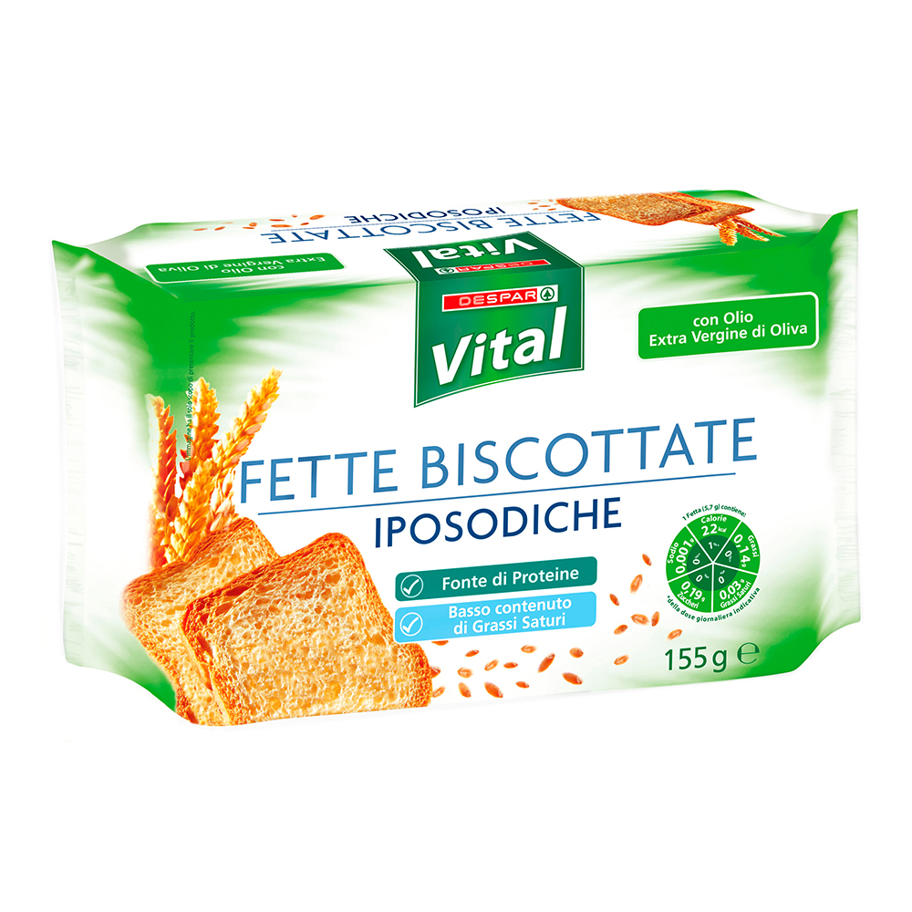 Fette biscottate iposodiche linea prodotti a marchio Despar Vital