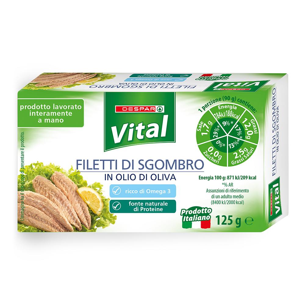Filetti di sgombro in olio di oliva linea prodotti a marchio Despar Vital