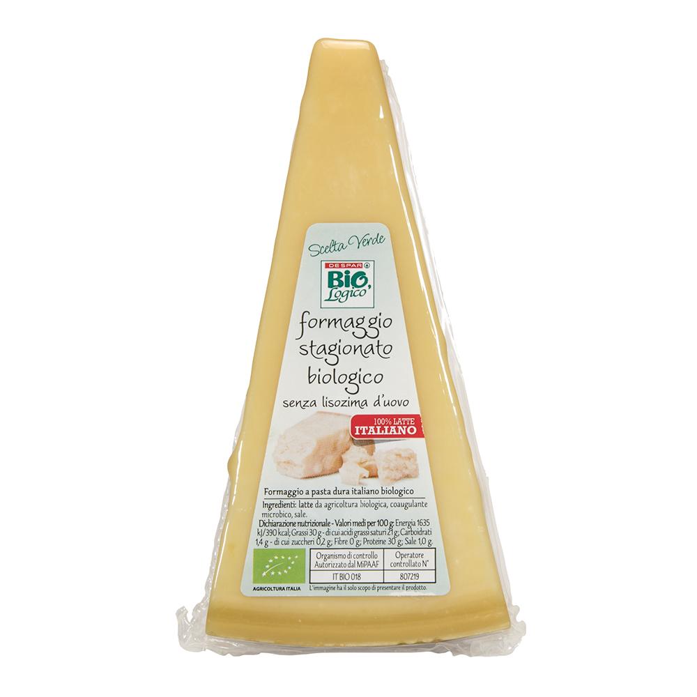 Formaggio stagionato biologico linea prodotti a marchio Despar Bio,Logico