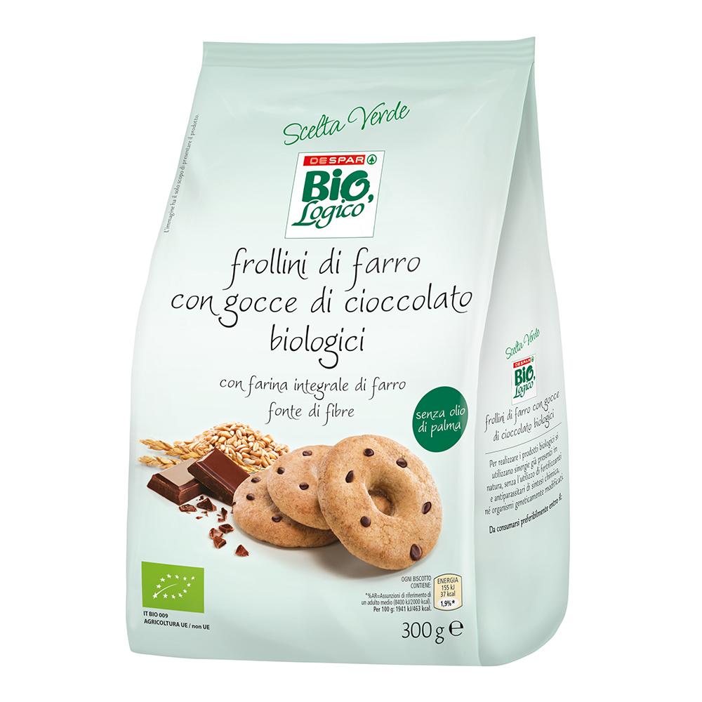 Frollini di farro con gocce di cioccolato biologici linea prodotti a marchio Despar Bio,Logico
