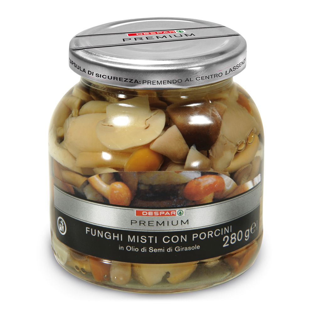 Funghi misti con porcini sott'olio linea prodotti a marchio Despar Premium, Despar Italia