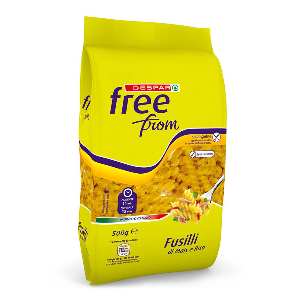 Fusilli di mais e riso linea prodotti a marchio Despar Free From