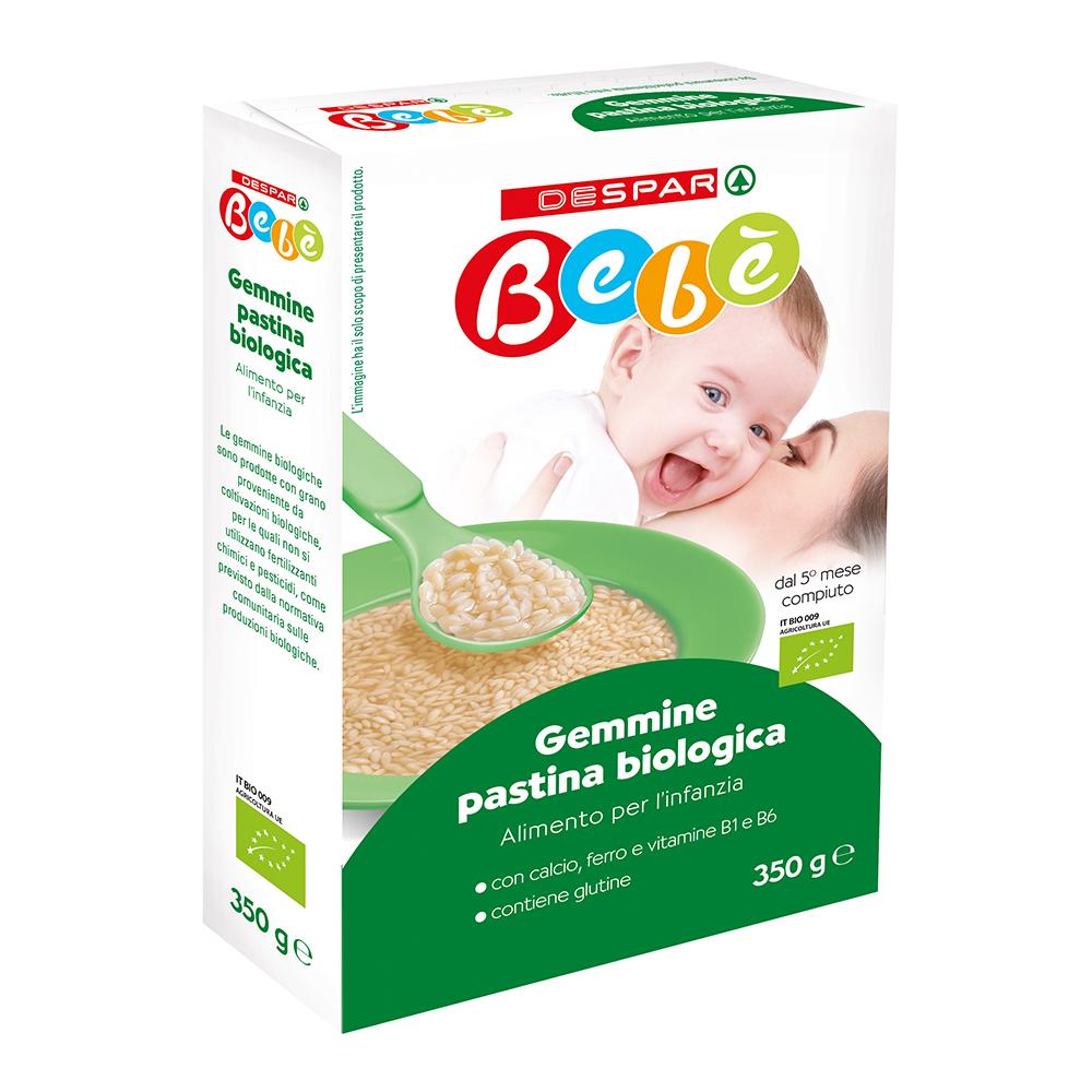 Gemmine di pastina biologica linea prodotti a marchio Despar Bebè