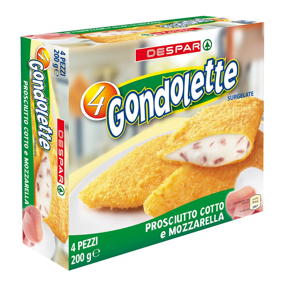 Gondolette prosciutto cotto e mozzarella linea prodotti a marchio Despar, Despar Italia