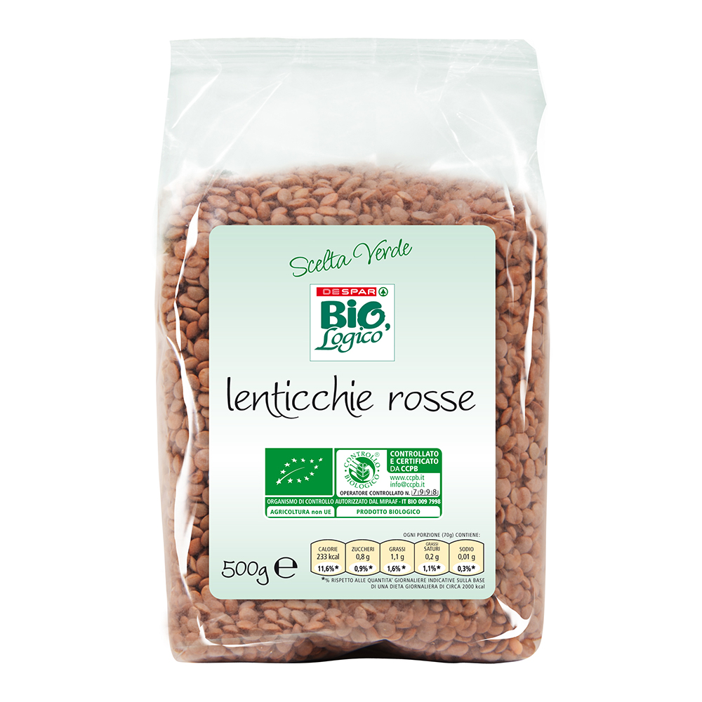 Lenticchie rosse 500 g linea prodotti a marchio Despar Bio,Logico