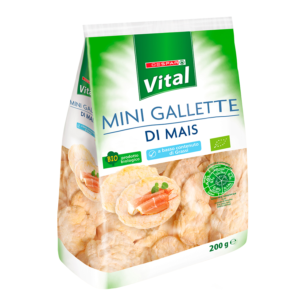 Mini gallette di mais linea prodotti a marchio Despar Vital