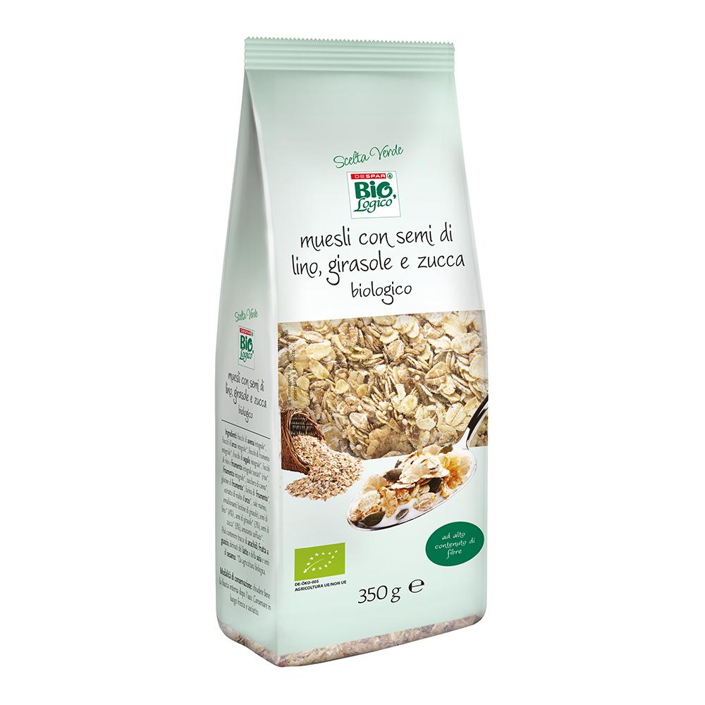 Muesli con semi di lino, girasole e zucca linea prodotti a marchio Despar Bio,Logico