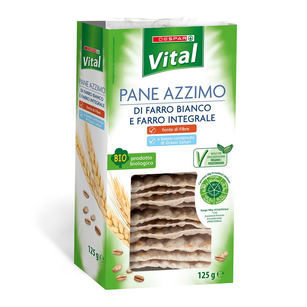 Pane azzimo di farro bianco e farro integrale linea prodotti a marchio Despar Vital