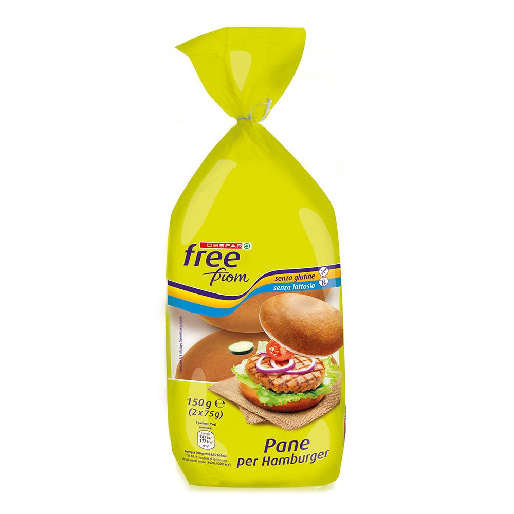 Pane per hamburger senza glutine senza lattosio linea prodotti a marchio Despar Free From