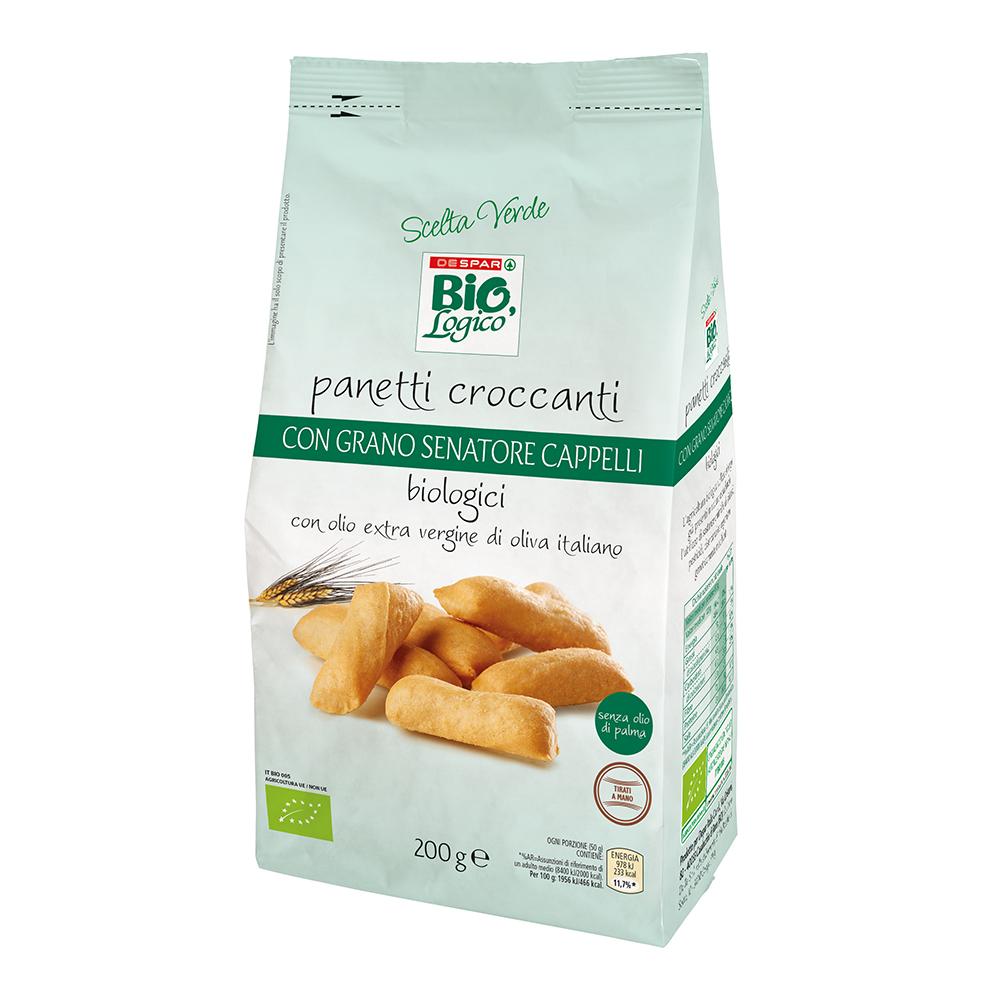 Panetti croccanti con grano Senatore Cappelli linea prodotti a marchio Despar Bio,Logico
