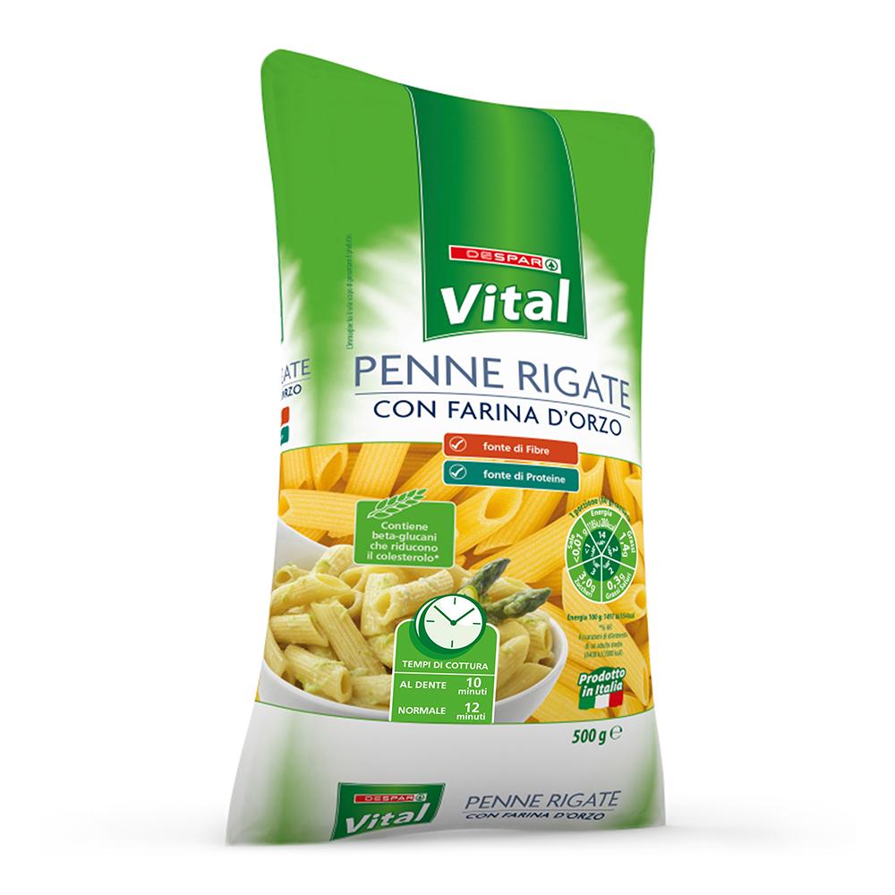 Penne rigate con farina d'orzo linea prodotti a marchio Despar Vital