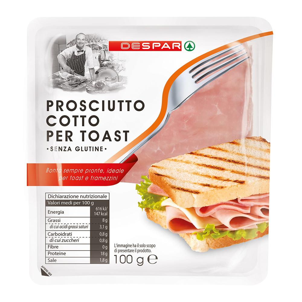 Prosciutto cotto per toast linea prodotti a marchio Despar, Despar Italia