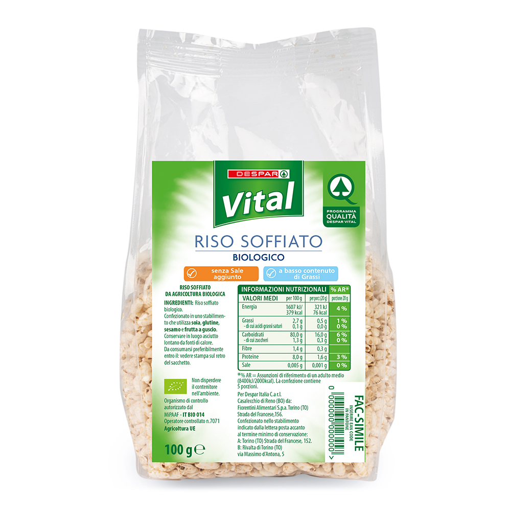 Riso soffiato biologico linea prodotti a marchio Despar Vital