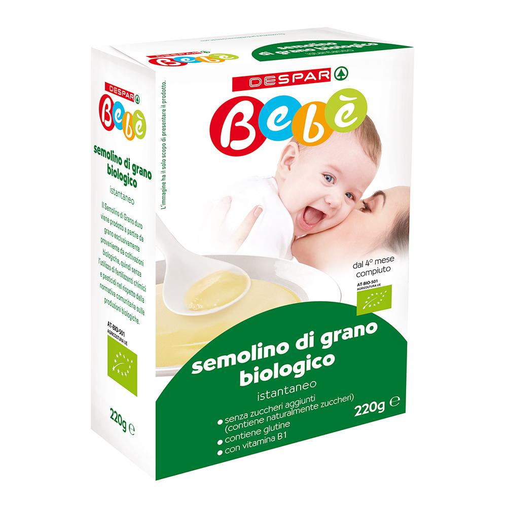 Semolino di grano biologico istantaneo linea prodotti a marchio Despar Bebè