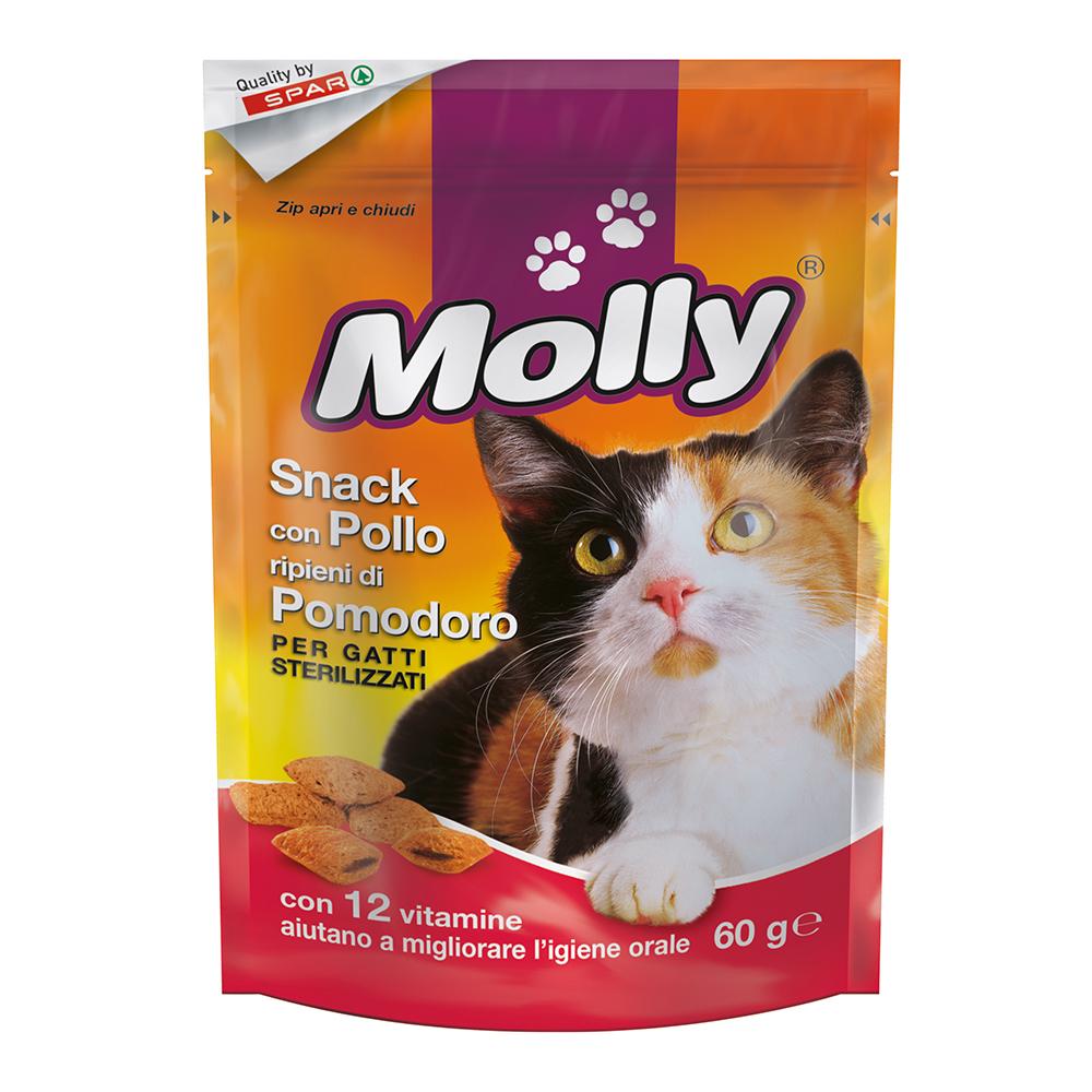 Snack con pollo ripieni di pomodoro per gatti sterilizzati linea prodotti a marchio Despar Molly