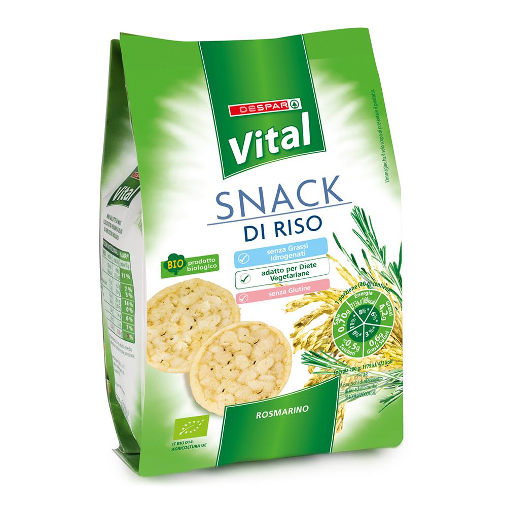 Snack di riso linea prodotti a marchio Despar Vital