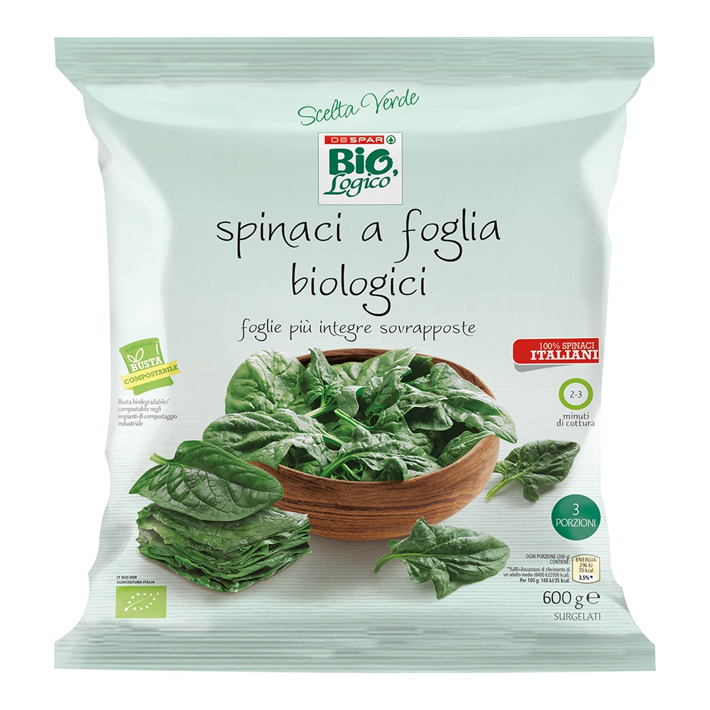 Spinaci a foglia biologici surgelati linea prodotti a marchio Despar Bio,Logico