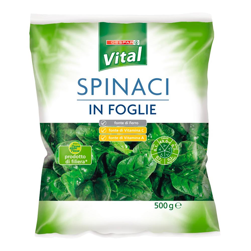 Spinaci in foglie linea prodotti a marchio Despar Vital