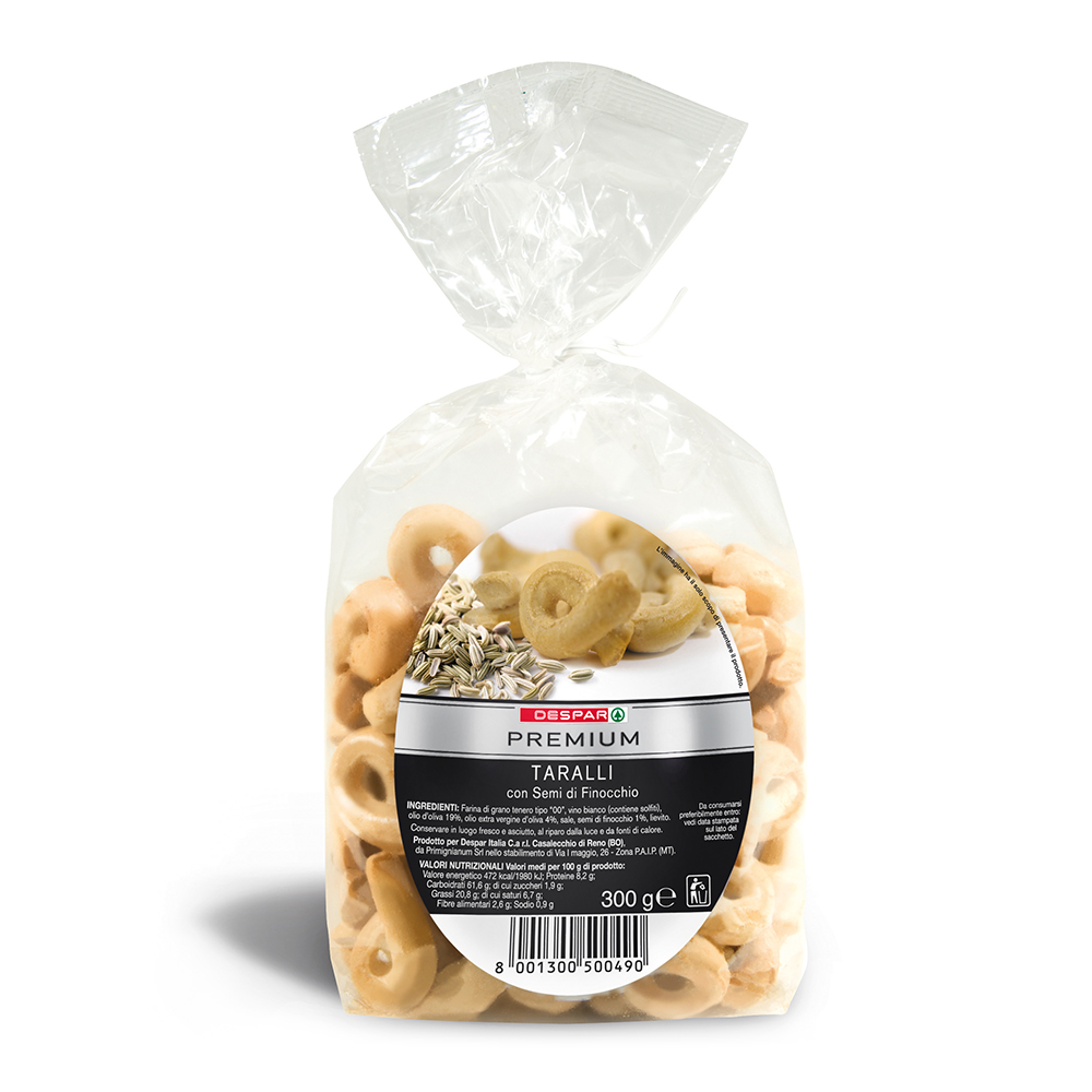Taralli con semi di finocchio linea prodotti a marchio Despar Premium, Despar Italia