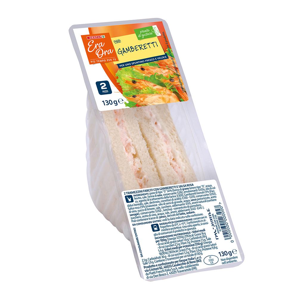 Tramezzini ai gamberetti linea prodotti a marchio Despar Era Ora, Despar Italia