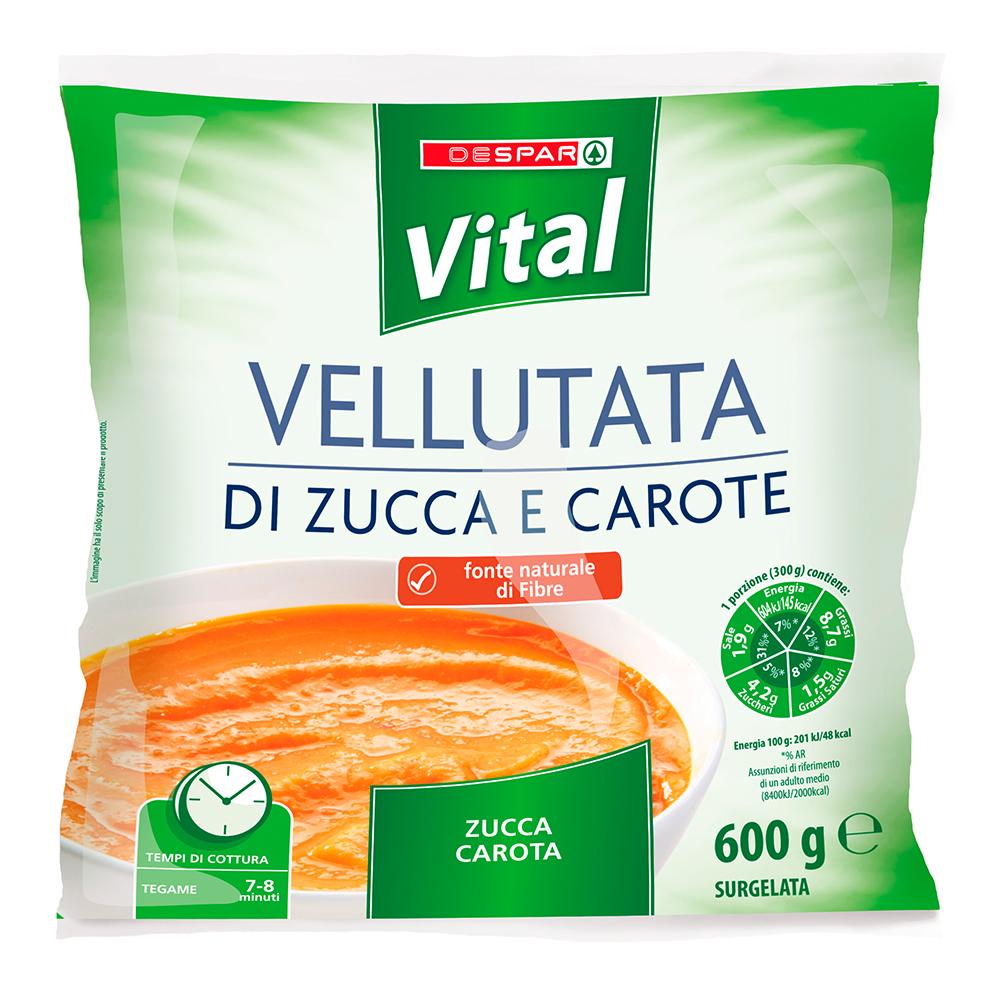 Vellutata di zucca e carote linea prodotti a marchio Despar Vital