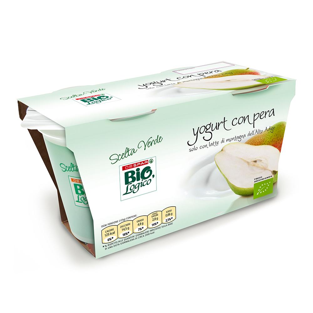 Yogurt con pera linea prodotti a marchio Despar Bio,Logico